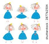 cute little princess girls in... | Shutterstock .eps vector #287762504