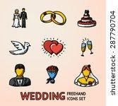 set of color handdrawn wedding... | Shutterstock .eps vector #287790704