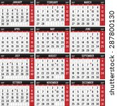 calendar for the year of 2017 | Shutterstock .eps vector #287800130