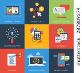 flat icons set web project plan ... | Shutterstock .eps vector #287809274