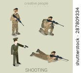 military aiming shooting people ... | Shutterstock .eps vector #287809334