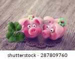 Marzipan Pigs On Wooden...