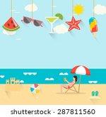 summer background with girl... | Shutterstock .eps vector #287811560