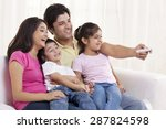 cheerful family watching tv | Shutterstock . vector #287824598
