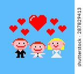 pixel art card with happy... | Shutterstock .eps vector #287829413