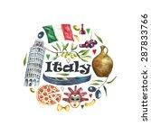 watercolor travel concept italy ...   Shutterstock .eps vector #287833766