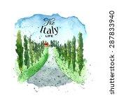 Watercolor Italy Tuscany. Hand...