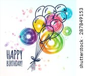 happy birthday card with doodle ... | Shutterstock .eps vector #287849153