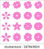 pink flower evolution icon set | Shutterstock .eps vector #287865824