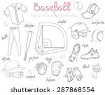 baseball set background  hand... | Shutterstock .eps vector #287868554