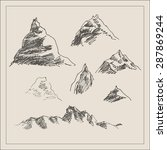 mountain scenery sketch hand... | Shutterstock .eps vector #287869244