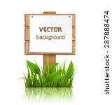 Wooden Signpost With Grass...