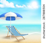 beach with sun beach umbrella... | Shutterstock .eps vector #287888504