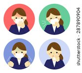 cold symptoms of business woman ... | Shutterstock .eps vector #287890904
