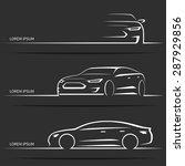 Stock vector set of luxury car silhouettes modern sports sedan white linear vector illustration isolated on 287929856