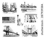 hand drawn new york city... | Shutterstock .eps vector #287939384