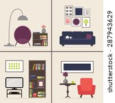 living room interior set with...   Shutterstock .eps vector #287943629