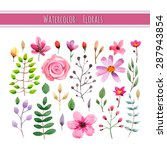 watercolor floral collection... | Shutterstock .eps vector #287943854