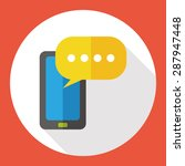 phone talk flat icon with long...