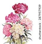 bouquet of peonies watercolor.... | Shutterstock .eps vector #287957939