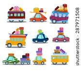 cars to travel  the bus with... | Shutterstock .eps vector #287971508