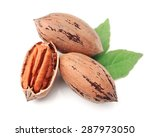 Pecan Nuts With Leaves Close U...