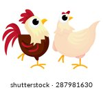 cute cartoon rooster and...