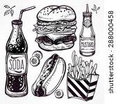fast food set vintage linear... | Shutterstock .eps vector #288000458