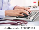 doctor typing information on... | Shutterstock . vector #288006194