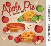 set of apple pies isolated with ... | Shutterstock .eps vector #288008534