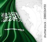 saudi arabia  flag of silk with ... | Shutterstock . vector #288026450