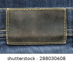 brown leather label on  jeans... | Shutterstock . vector #288030608