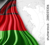 malawi  flag of silk with world ... | Shutterstock . vector #288035306
