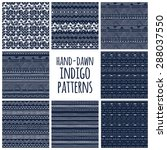 set of eight indigo blue and... | Shutterstock .eps vector #288037550