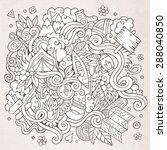cartoon vector doodles hand...   Shutterstock .eps vector #288040850