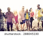 diverse beach summer friends... | Shutterstock . vector #288045230