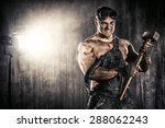 strong aggressive coal miner... | Shutterstock . vector #288062243