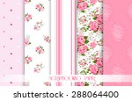 Stock vector set of vector patterns with roses floral background and borders 288064400