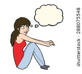 cartoon happy woman sitting... | Shutterstock . vector #288075548