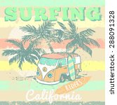 california surf typography  t... | Shutterstock .eps vector #288091328
