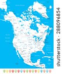 north america   map  navigation ... | Shutterstock .eps vector #288096854