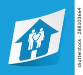 sticker with house and couple...