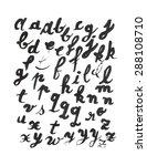 lowcase handwritten alphabet... | Shutterstock .eps vector #288108710