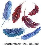 set of watercolor feathers. | Shutterstock . vector #288108800