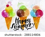 Poster Watercolor Ice Cream...