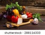 bell peppers  basil  garlic ... | Shutterstock . vector #288116333