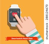 white smart watch showing heart ... | Shutterstock .eps vector #288124670