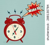 red alarm clock in pop art... | Shutterstock .eps vector #288130784