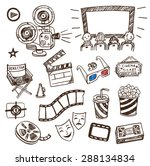 hand drawn cinema icons doodle... | Shutterstock .eps vector #288134834