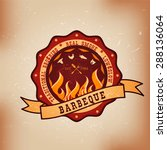 barbecue bbq meat logo  stamp ... | Shutterstock .eps vector #288136064